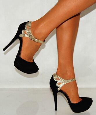 shoes black snake gold heels