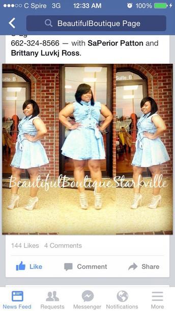 dress denim short bow sleeveless