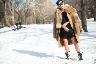 bryan boy blogger leather shorts winter sports fur mirrored sunglasses