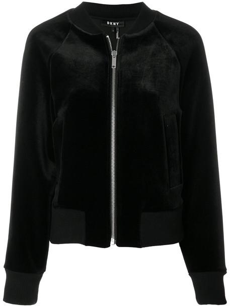 DKNY jacket bomber jacket women spandex black velvet