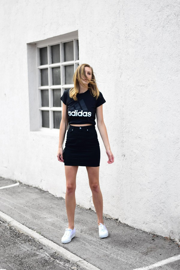 41d983c202 t-shirt tumblr adidas black t-shirt skirt mini skirt sneakers white  sneakers low