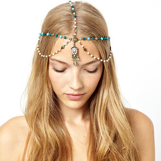 jewels headband necklace headpiece accessories boho headpiece turquoise jewelry crystalsrhinestones bohemian coachella head jewels blue urban outfitters vanessa huggins fashion hair accessory beads jewelry pearl celebrity style elegant great gatsby headpiece ball
