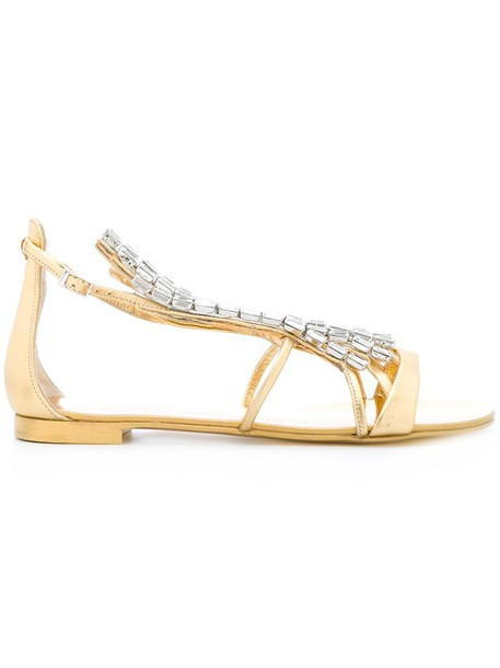 GIUSEPPE ZANOTTI DESIGN women embellished sandals flat sandals leather grey metallic shoes