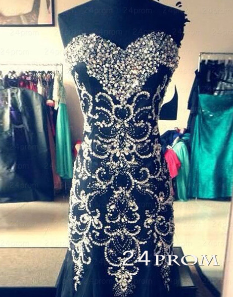 Black A-line Sweetheart Neckline Long Prom Dresses, Evening Dresses - 24prom