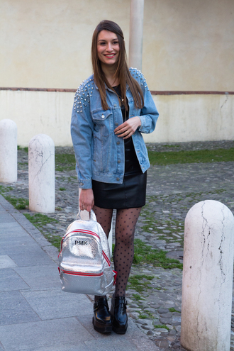 style and trouble blogger tights studded jacket metallic backpack denim jacket leather dress