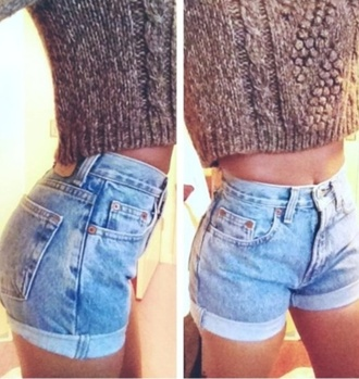 tank top knitted shirt outfit cute outfits denim cotton brown tank shorts sweater high waisted  shorts