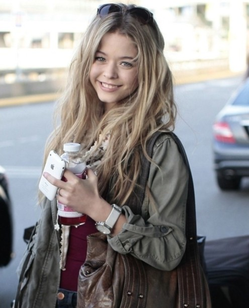bag leather leather bag brown tote bag hobo bag pretty little liars jacket sasha pieterse olive green glasses blonde hair lookbook watch