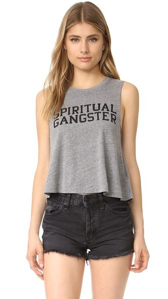 crop tank varsity grey heather grey top
