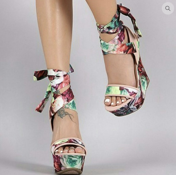 shoes 6 inch wedges sandals open toes tie