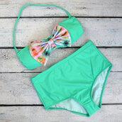 swimwear,bikini,mint,bow bikini top,high waisted bikini