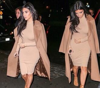 kim kardashian midi dress nude dress