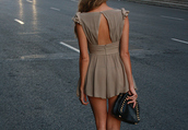 open back,taupe,dress,summer dress,open back dresses,chiffon dress,brown dress,buttons,short dress,party dress,short party dress,clutch,leather clutch,black and gold clutch,pretty,beautiful,bag,romper,chris brown