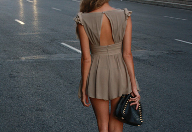 backless taupe dress dress summer dress backless dress chiffon dress brown dress buttons short dress party dress short party dress clutch leather clutch black and gold clutch beautiful bag romper cutout onepiece chris brown