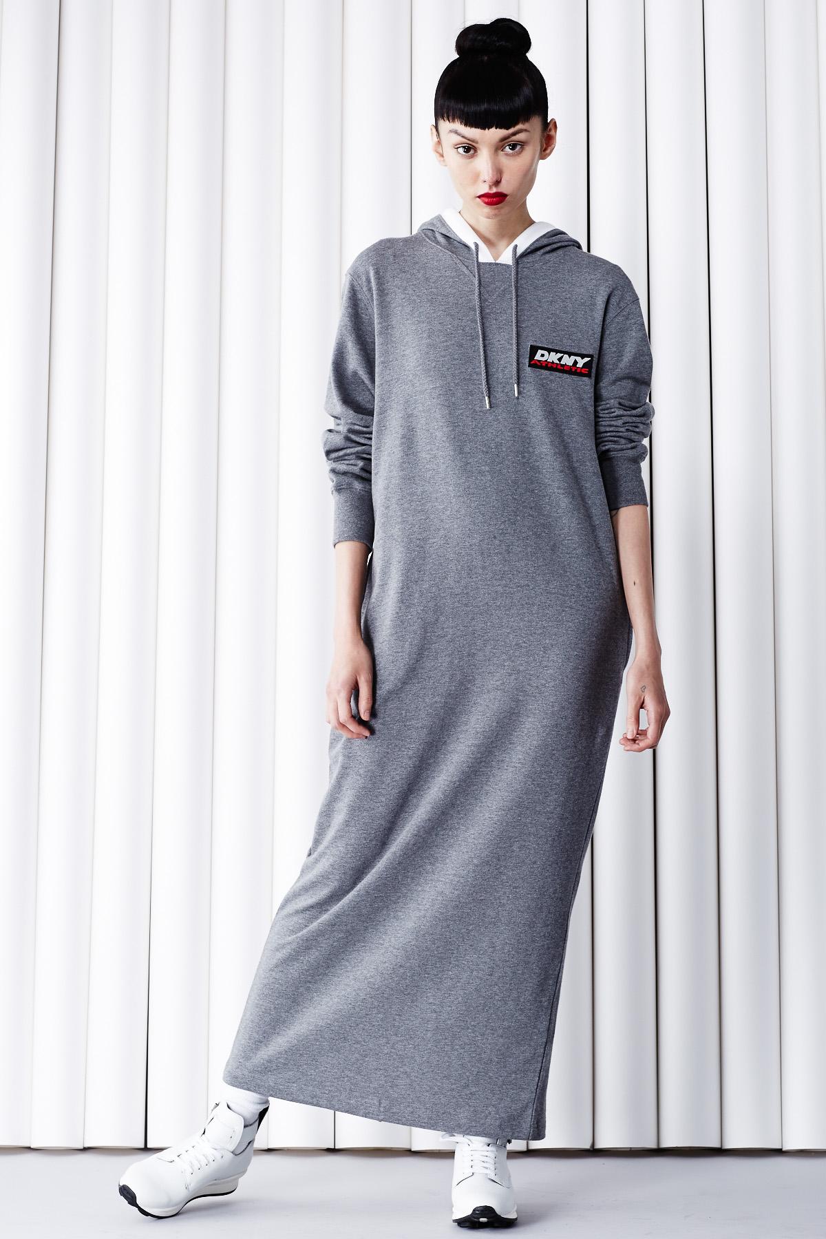 Dkny for opening ceremony dkny athletic tag & logo hooded dress