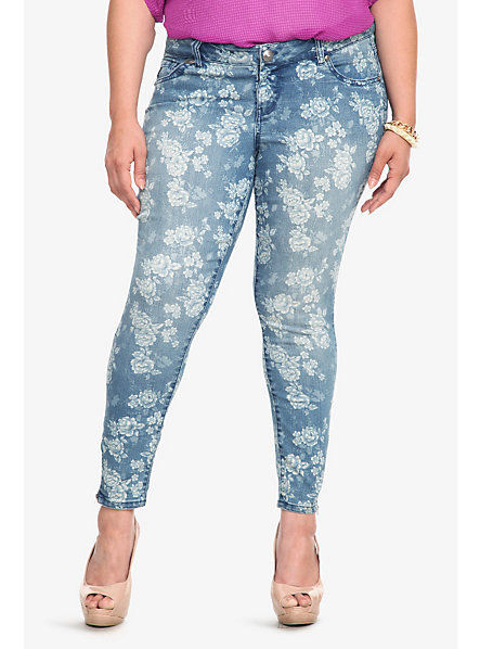 Torrid Denim Cabbage Rose Print Ankle Zip Stiletto Jeans | eBay