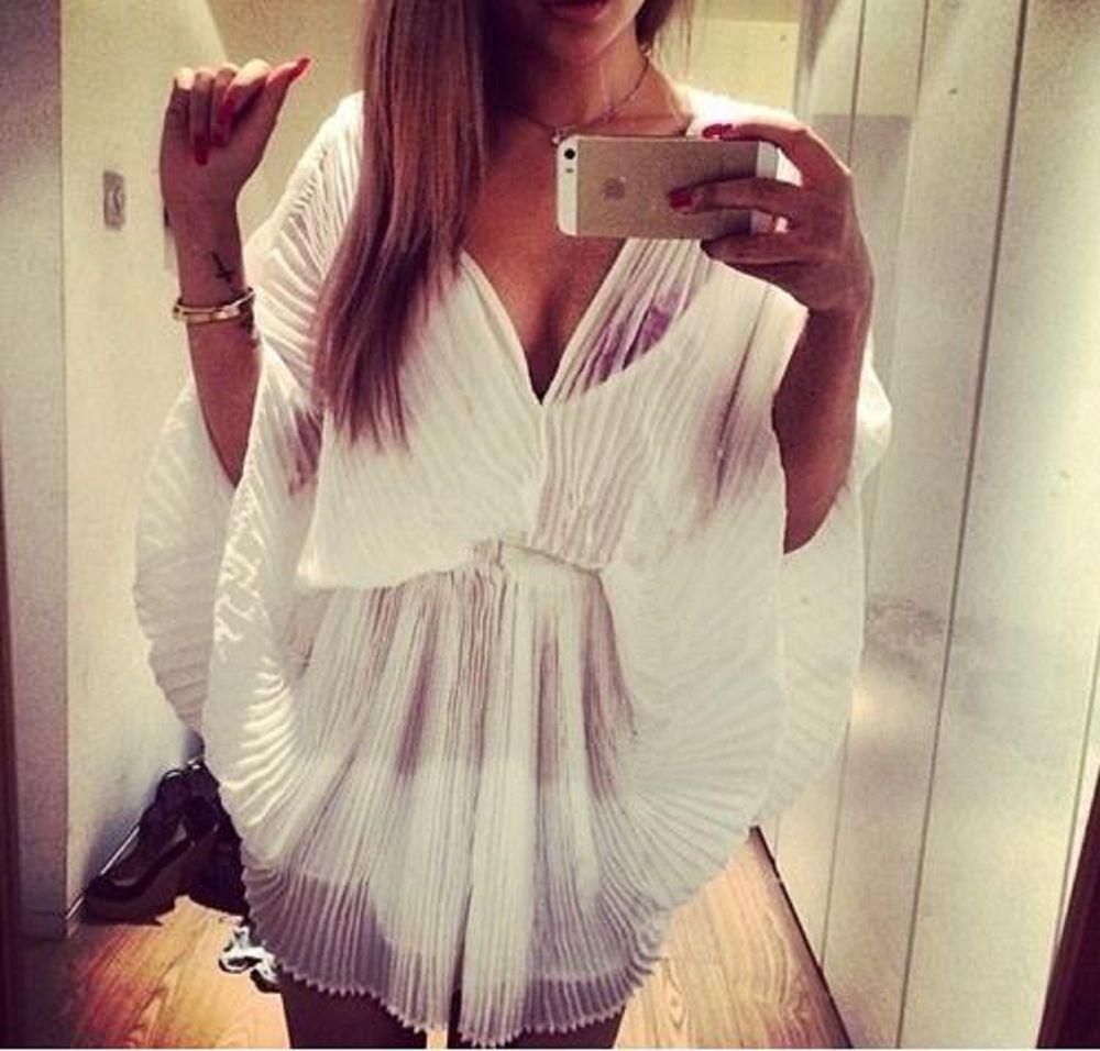 Ladies chiffon pleated playsuit summer fashion sheer romper free shipping 8-12 | eBay