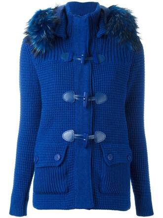 jacket fur women blue wool