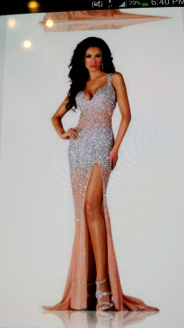 dress, long prom dress, peach, prom dress, prom, sequins, formal ...