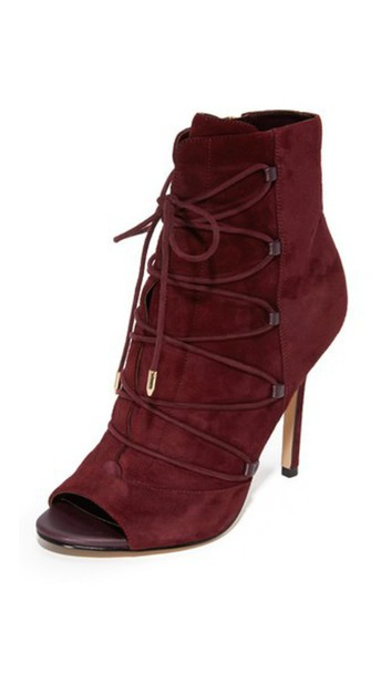 Sam Edelman Asher Open Toe Booties - Port Wine