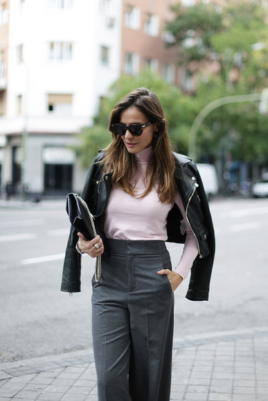 blogger jacket perfecto bag sunglasses lady addict work outfit tailoring