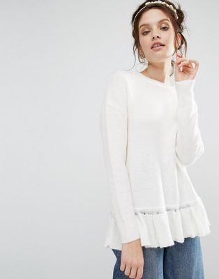 Willow and Paige Relaxed Sweater With Ruffle Hem at asos.com