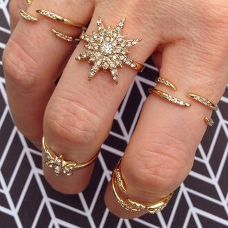 jewels jewel cult jewelry ring knuckle ring gold gold ring bling crystal stars starburst ring crystal star ring linked ring