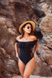 swimwear,hat,tumblr,one piece swimsuit,off the shoulder,off the shoulder swimsuit,black swimwear,ruffle,sun hat