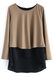 top,contrast tiered hi-lo top in tan,chicwish,chicwish.com,hi-lo top,tan top