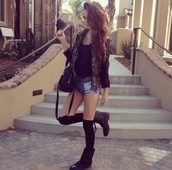 jacket,coat,cute,pretty,bag,acacia brinley,knee high socks,shoes,shorts