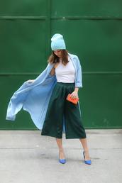 venka vision,blogger,coat,white crop tops,culottes,light blue