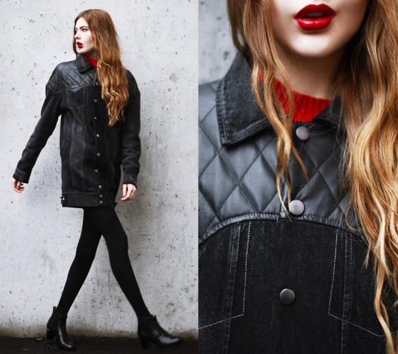 coat jacket black oversized boyfriend coat grunge manly