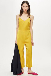 jumpsuit,strappy,satin,mustard