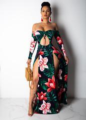Stand Back Double Slit Print Maxi Dress