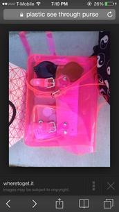 bag,pink long strap plastic see threw bag