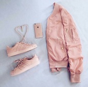 jacket,bomber jacket,satin bomber,pink bomber jacket,rose gold,pink,adidas,adidas shoes