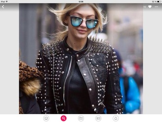 jacket black gigi hadid sunglasses accessories accessory mirrored sunglasses retro sunglasses sunnies glasses cat eye gigi hadid style model model off-duty streetstyle