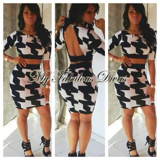 dress black and white black white dress two-piece houndstooth bodycon open back