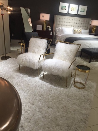 home accessory fur white home decor chair white and gold faux fur gold