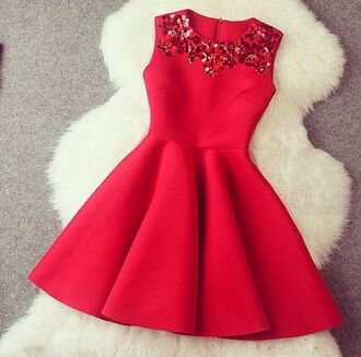 red dress dress cool pretty red sweetheart dress cute dress skater dress red details jewels