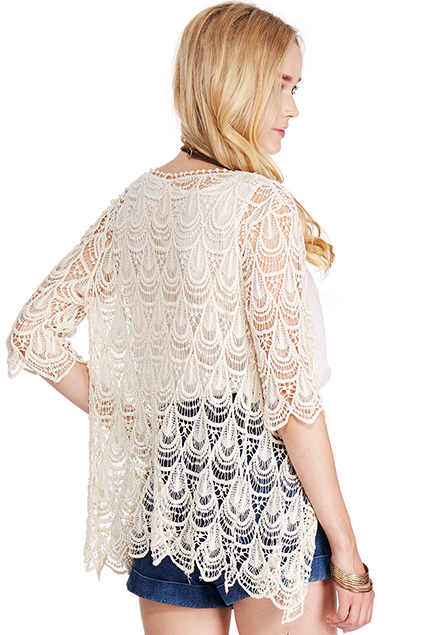 ROMWE | ROMWE Lace Crochet Apricot Short-sleeved Cardigan, The Latest Street Fashion