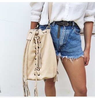 bag nude bag bucket bag shoulder bag fringed bag fringes lace up beige bag distressed denim shorts