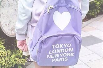 bag purple white heart cities backpack lilac lavender tumblr pastel cute tokyo london new york city paris