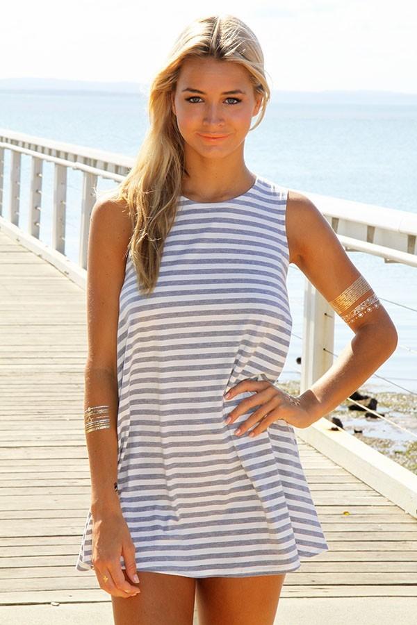 Gray & white pure shores tank dress