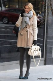 scarf,gossip girl,blake lively,scarf accessories,coat,winter outfits,winter coat,automn,beautiful,grey,beige,designer,fall outfits,nude,wool coat,shoes