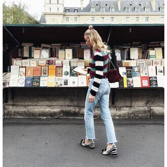 jeans tumblr stripes striped sweater bag burgundy denim blue jeans frayed jeans frayed denim shoes thick heel block heels hun french girl style pilgrim shoes high heel loafers