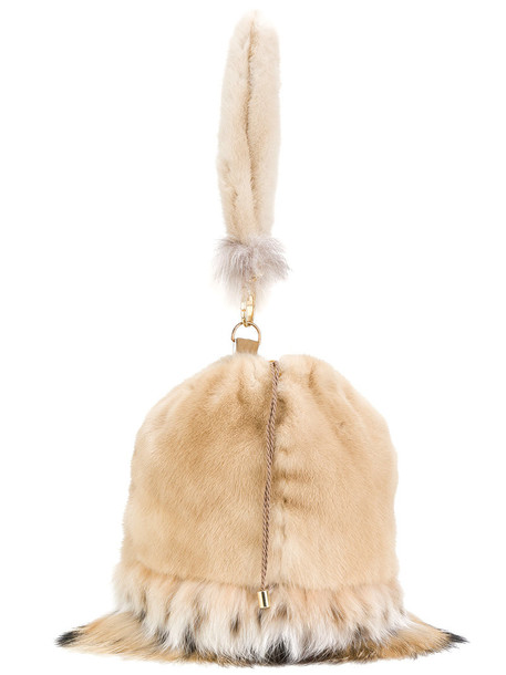 fur women bag clutch nude silk