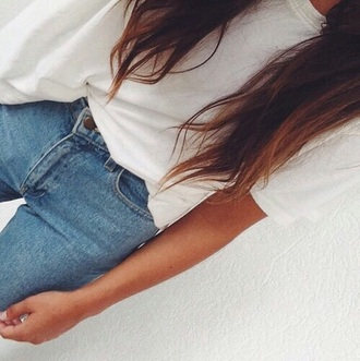 blouse white tee jeans