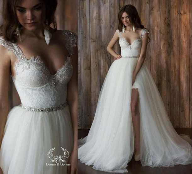 dress, wedding dresses detachable skirt, a line wedding dresses ...