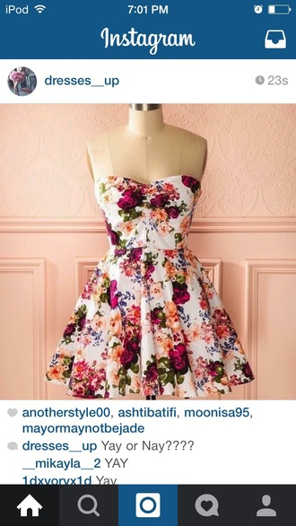 dress floral dress white cream hipster skater dress