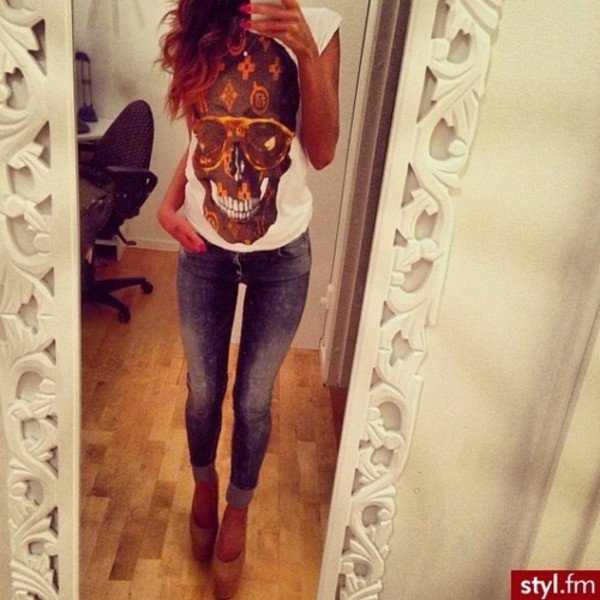 shirt skull brown white t-shirt louis vuitton jeans pants heels